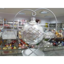 BOMBKA szklana 80mm srebrna dekor ORNAMENT