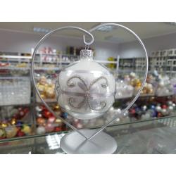 BOMBKA szklana 80mm srebrna dekor ORNAMENT pudełko/4szt.