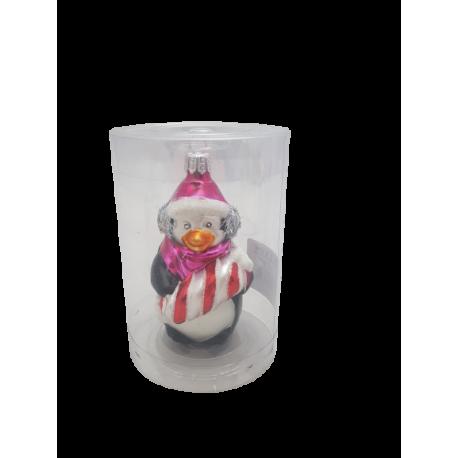 Pingwinek z cukierkiem bombka szklana
