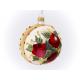 """pięknie dekorowana różami bombka 80mm tył """"Wesołych Świąt"""""""