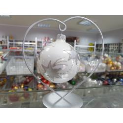 BOMBKA szklana 8cm srebrna GWIAZDKI na łańcuszku