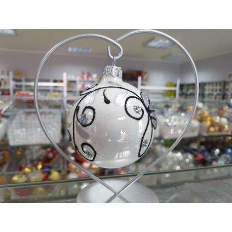 BOMBKA szklana 8cm srebrna dekor LISTKA pudełko/4szt.
