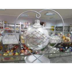 BOMBKA szklana 8cm srebrna dekor ORNAMENT