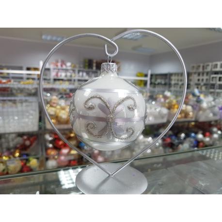 BOMBKA szklana 8cm srebrna dekor ORNAMENT pudełko/4szt.