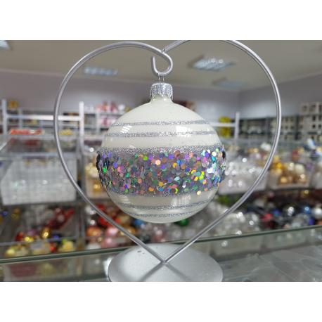 BOMBKA szklana 80mm srebrna dekor PAS brokatowy