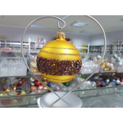 BOMBKA szklana 8cm złota dekor PAS brokatowy