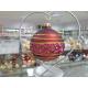 BOMBKA szklana 80mm burgund dekor PAS brokatowy