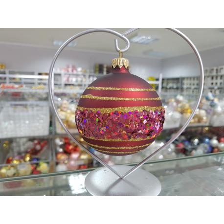 BOMBKA szklana 8cm burgund dekor PAS brokatowy pudełko/4szt.