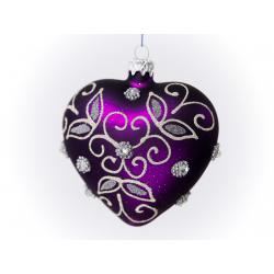 serce dekorowane kamieniami ozdobnymi fioletowe