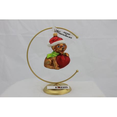 forma piesek z serduszkiem w czapie Świętego Mikołaja