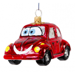 AUTO samochodzik czerwony z oczami bombka szklana stojąca oraz wisząca
